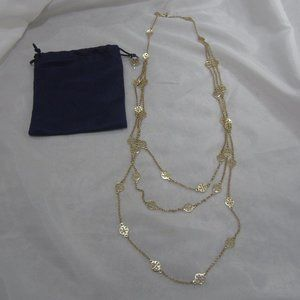 Tory Burch NWOT Tri Strand Logo Rosary Necklace